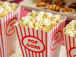 red and white boxes of popcorn