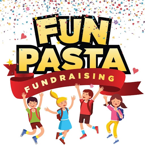 fun pasta fundraising logo with confetti and kids