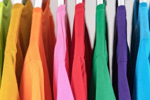 colorful tshirts hanging up